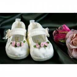 Girls Christening / Wedding Shoes in ivory with Rosebud Trim Style 3580/237
