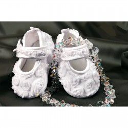 White Girls Organza Flower Christening Shoes Style 4532/171