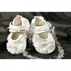 Ivory Girls Organza Flower Christening Shoes Style 4532/171