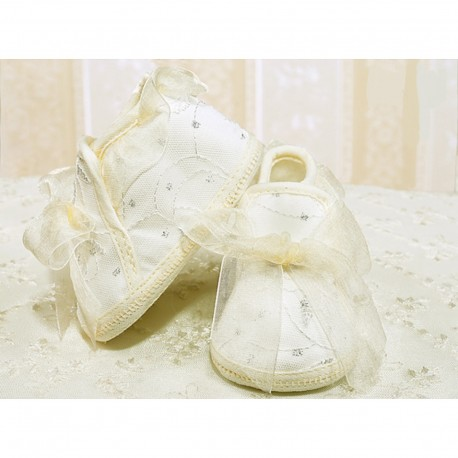 Baby Girls Ivory Christening / Special Occasion Shoes with Lace and Organza Bow Style 2651/19