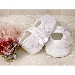 Baby Girls White Lace Christening Shoes Style 2651/26