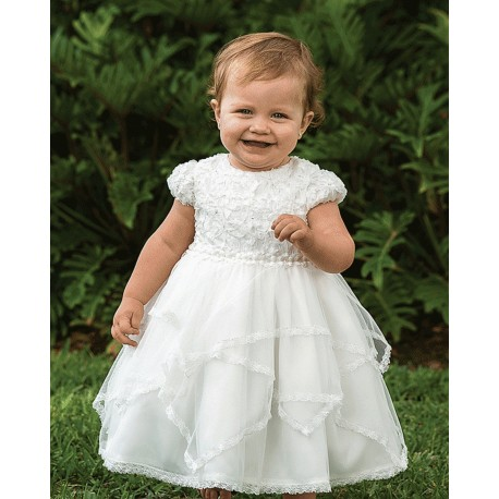 Sarah Louise White Lacy Christening /Occasion Dress Style 10195