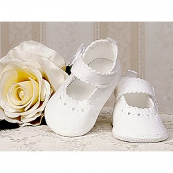 Baby Girl White Linen Christening/Special Occasions Shoes Style 3825/148