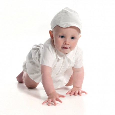 Ivory Short Sleeved Boys Christening Romper by Sarah Louise Style 209SZ