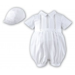 White Short Sleeved Boys Christening Romper by Sarah Louise Style 209SZ