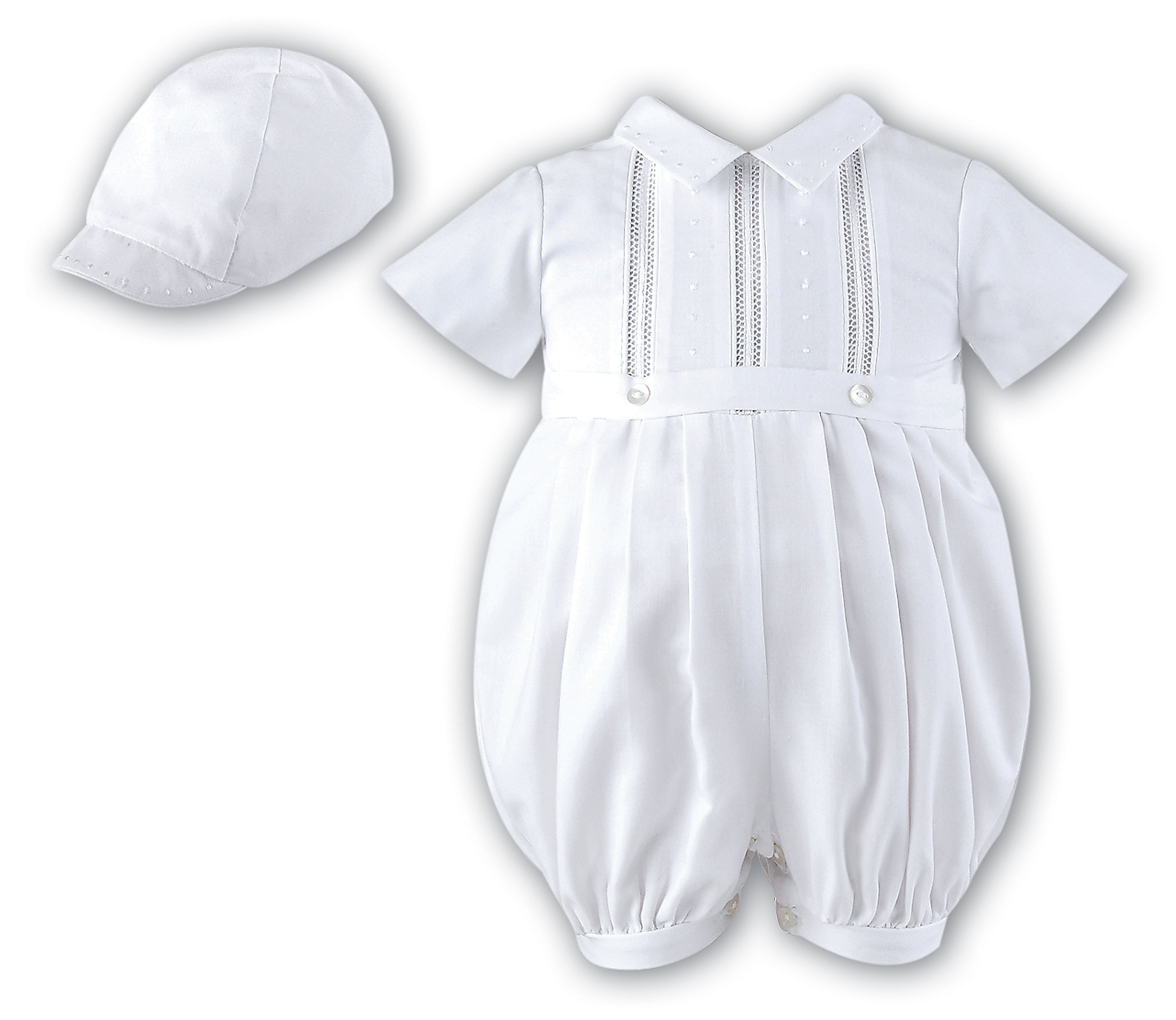 White Short Sleeved Boys Christening Romper by Sarah Louise Style 209SZ 0d5dda81a