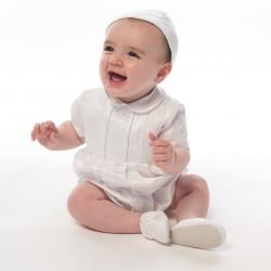 Sarah Louise Ivory Short Sleeved Christening Romper Style 002232S