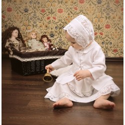 Linen Christening Dress Natural Lace
