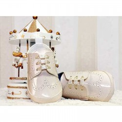 Baby Boys Beige Leather Pumps Christening/Wedding/Pram/ Formal Party Shoes Style 4143