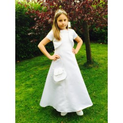 White Satin Beaded A-Line Communion Dress&Bolero by Sarah Louise Style 090005