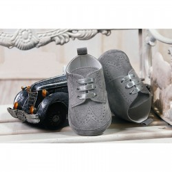 Baby Boys Gray Suede Leather Christening/Wedding/Pram/ Formal Party Shoes Style 4143/173