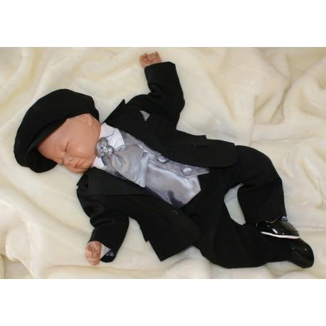 Baby Boys Black & Silver 6 Piece Pageboy Wedding Jacket Suit Rafael