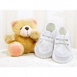 Lace-Up Baby Boy Christening Satin Moccasins in White Style 015/41