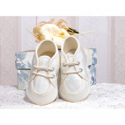 Lace-Up Baby Boy Christening Satin Moccasins in Ivory Style 015/41