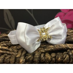 Satin Bow Diamanté Buckle Baby Headband Style 375