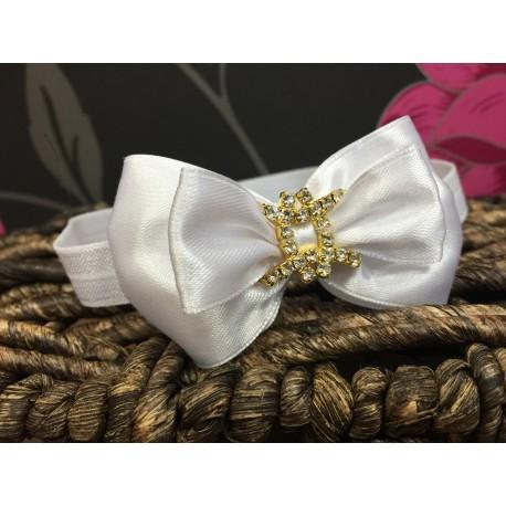 Satin Bow Diamanté Buckle Baby Headband Style 375