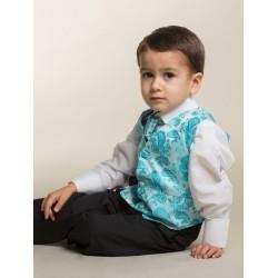 Boys Aqua 4 Piece Pageboy Waistcoat Suit Style 520