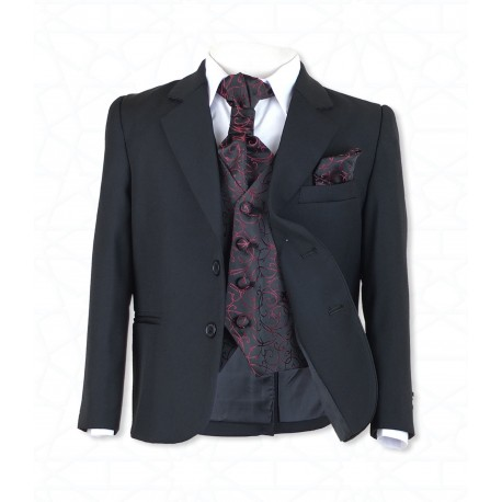 Boys Black 5Pc Communion/Page Boy Suit with Burgundy Hankerchief, Cravat & Waistcoat Style 514