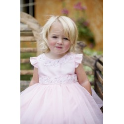 Couche Tot Pink Floral Mesh Flower Girl Dress Style 1322