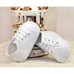 Corduroy White Christening/Special Occasions Shoes Style 3511/165