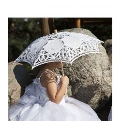 Handmade Lace White Communion Parasol Kitty p03
