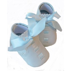Leather Baby Boys Blue Christening Shoes Elliot by Sevva