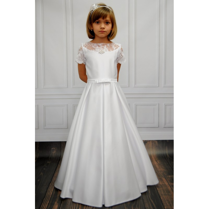 8170aa7fa366 Vintage Style Handmade Satin&Lace Communion Dress with Diamond Brooch Delia  ...
