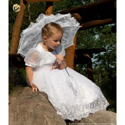 Handmade White Lace Communion/Flower Girl Parasol Happy Hannah Long p01
