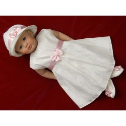 Ivory&Pink Lace Christening/Flower Girl Dress Set with Headband and Hat Hannah