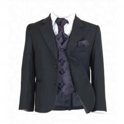 Boys Black 5Pc Communion/Page Boy Suit with Purple Hankerchief, Cravat & Waistcoat Style 514
