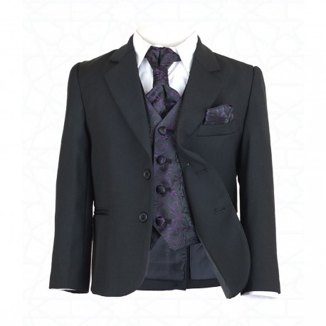 Boys Black 5Pc Communion/Page Boy Suit with Purple Hankerchief, Cravat & Waistcoat Style 514