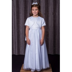 Full Length White Satin And Tulle Communion Dress from Celebrations Loganberry