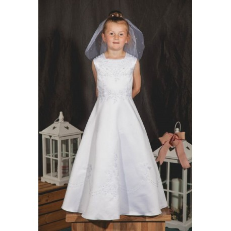 White Sleeveless Embellished Satin Communion Dress by Celebrations Lantana