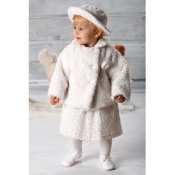 White Baby Girls Rose Fur Coat Style B019