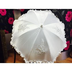 Girls First Communion White Satin&Lace Frilled Vintage Parasol from Little People Style 712