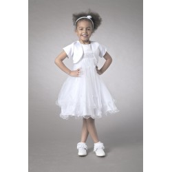 Couche Tot White Girls Special Occasion Dress with Bolero 3561A