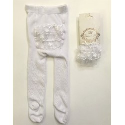 White Couche Tot Frilly bum Tights/Baby tights 3248