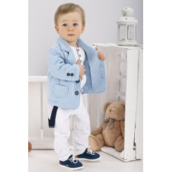 Boys Outfit White Blue Style WA013