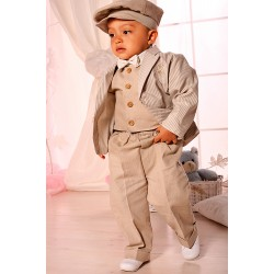 Linen Baby Boy Outfit in Beige A020+