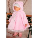 Girls Pink Faux Fur Coat C004