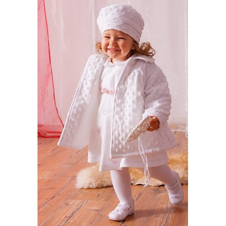 Special occasions or Casual white Coat with Cap B023P.