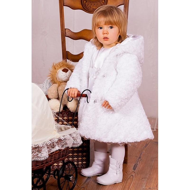 Baby Girls White Faux Fur Coat Jacket