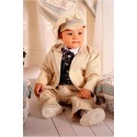 Special Occasions Corduroy Suit Set in Beige&Burgund Style A015+