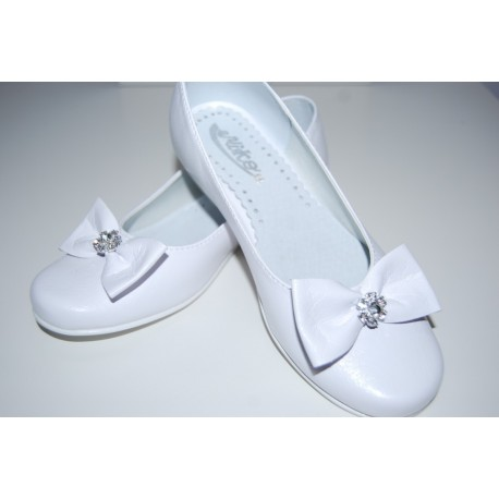 White Leather First Holy Communion Shoes Style 800