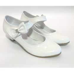 Girls Leather White Communion Special Occasions Shoes Style 130