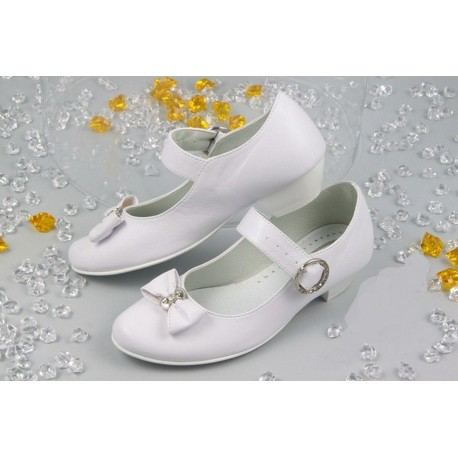 White Leather First Holy Communion Shoes Style 903