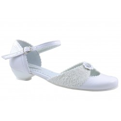 White Leather First Holy Communion Shoes Style 612