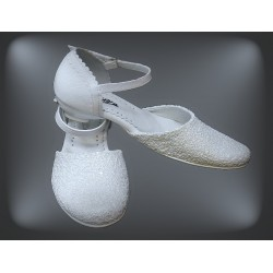 White Glitter First Holy Communion Shoes Style 167