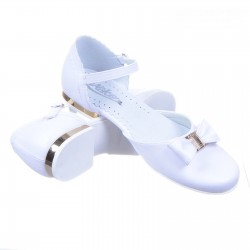 White Leather First Holy Communion Shoes Style 672