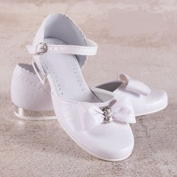 White Leather First Holy Communion Shoes Style 671